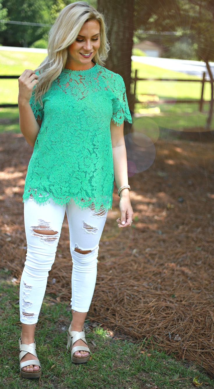Lace top teal boutique